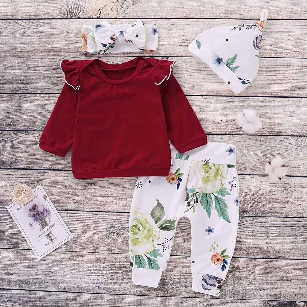 MUQGEW Baby Girls Boys Clothes 4PCS Toddler Baby Girls Floral Print Top Pants Cap Headband Ruffles Outfits Set roupa infantil 1
