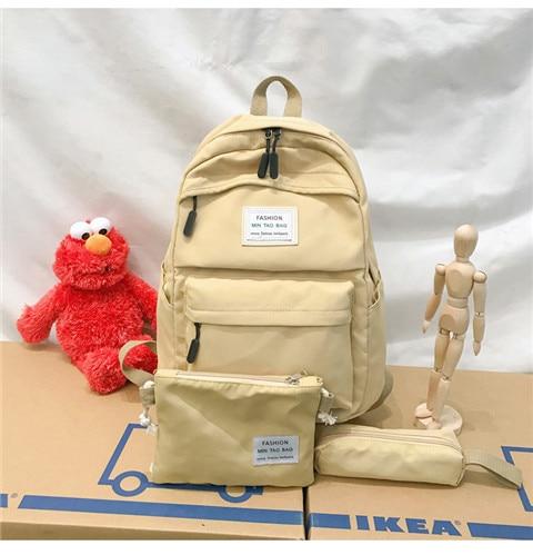 HTB18v06XRv0gK0jSZKbq6zK2FXaY Nylon Backpack Women Backpack Solid Color Travel Bag Large Shoulder Bag For Teenage Girl Student School Bag Bagpack Rucksack