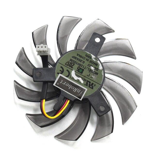 새로운 everflow t128010sm 75mm 3pin 3 wire dc 12 v 0.20a 그래픽 카드 냉각 팬 기가 바이트 n465 gtx670 gtx580 560ti 쿨러 팬