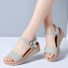 2019 Women Sandals Shoes Summer Suede Leather Thick Heel Wedge Platform Sandals Ladies Ankle Strap Retro Flat Sandals Women