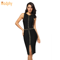 2016 New Women Summer Beading Bandage Dress Black White Bodycon Knee Length Dress Sexy Front Split