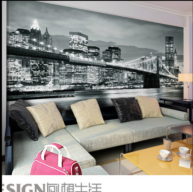 New York City Themed Bedroom Part   31: 3d Stereoscopic Wallpaper Living  Room Office Backdrop