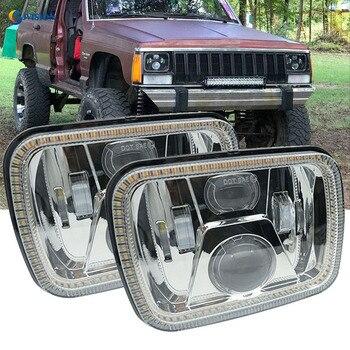 "5"" x 7"" 6x7inch Rectangular LED Headlights Halo angel eyes for Jeep Wrangler YJ Cherokee XJ Trucks 4X4 Offroad Headlamp"