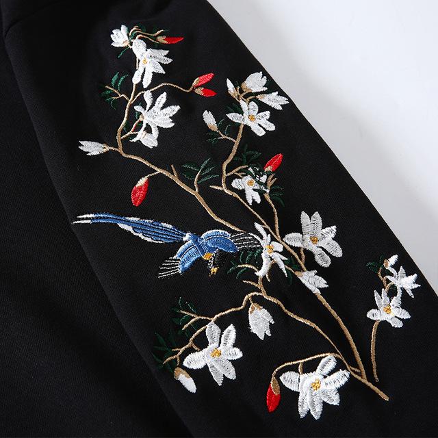 Men Embroidery Hooded Hoodie Flower Bird Chinese Loose Casual Hoodies Pullover Harajuku Oversized Couple Sweatshirts Streetwear