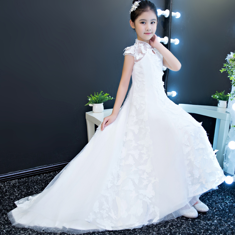 2018 New High Quality White Color Birthday Wedding Party long tailing dresses Babies Kids Model Show Costume Butterfly Dress