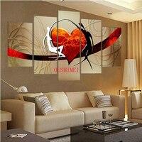 Handgemalte 5 Stücke Rotes Herz Bild Auf Leinwand Liebhaber Tänzerin Ölgemälde Für Wohnzimmer Rroom Wandkunst Freies Verschiffen Bilder Kunst