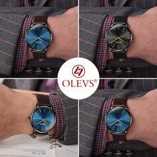 OLEVS Romantic Quartz Lovers Wristwatch Top Brand Ultra Thin Gold Case Clock Men/Women Leather Watchband Waterproof Watches 5868