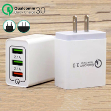 цена на 2 Pcs/Lot Quick Charge 3.0 USB Charger QC3.0 USB Wall Charger for iPhone Samsung Xiaomi Mobile Phone Charger 3 USB Fast Charging