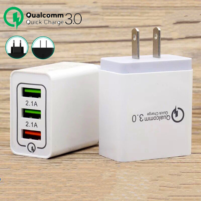 2 Pcs/Lot Quick Charge 3.0 USB Charger QC3.0 USB Wall Charger for iPhone Samsung Xiaomi Mobile Phone Charger 3 USB Fast Charging