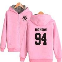 Korean ulzzang Fashion KPOP Monsta X Pink Hoodie Sweatshirt Men Women K POP Fans Supportive Thick Warm Zip up Hooded Jacket Coat