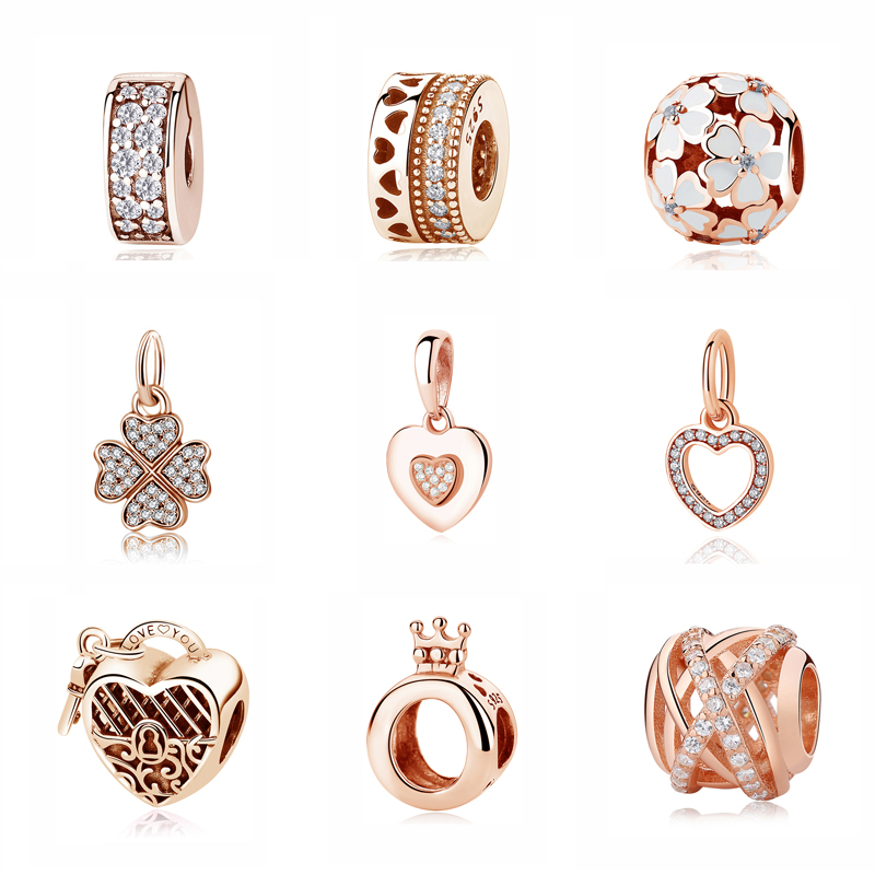 Authentic Original 925 Sterling Silver Charm Bead Pendant Spacer Clip Charms Rose Gold Fit Pandora Bracelets Women DIY Jewelry rose gold pandora charms