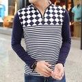 NUEVA manga larga para hombre camisa polo tommis Camisa delgada Tela Escocesa de ropa de marca de algodón de alta calidad de negocios hombres casual polo homme