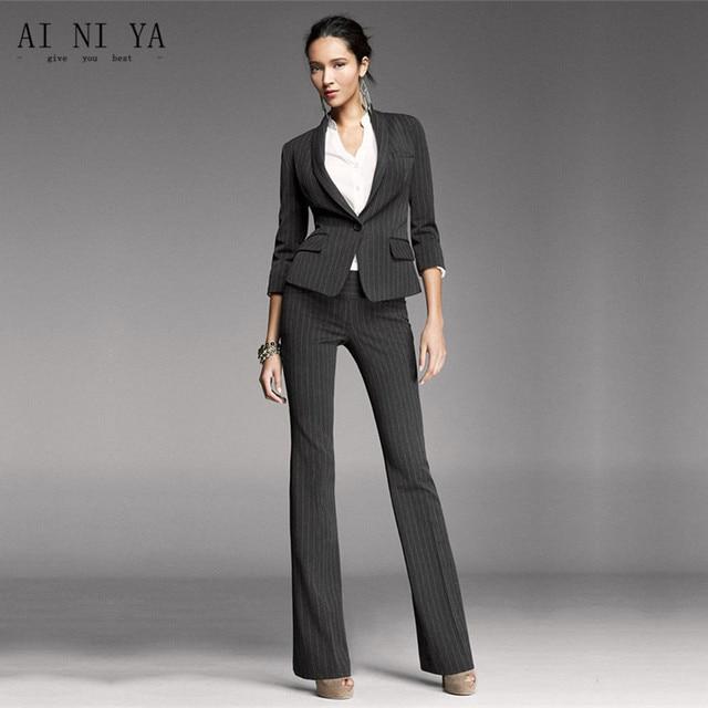 Women Pant Suits Black White Stripes Office Uniform Two Piece Las Business Female Formal Work