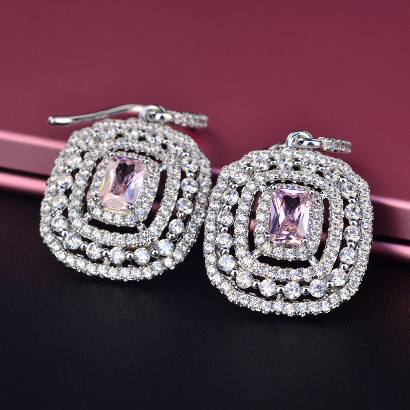 PANSYSEN Luxury S925 Sterling Silver Earrings For Women White Pink Spinel Earing Fashion Indian Wedding Brincos Fine Jewelry in Earrings from Jewelry Accessories