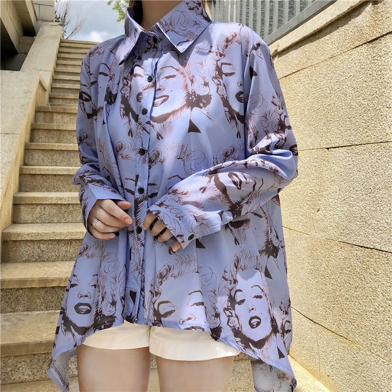 New Womens   Blouses     Shirts   Sexy Marilyn Monroe Print Button Down Collar Long Sleeve   Shirt     Blouse   Summer Style
