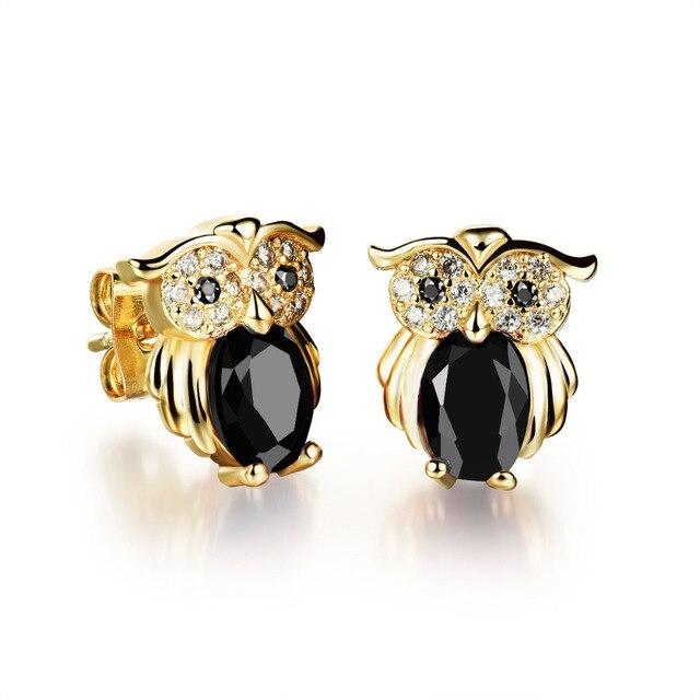 OPK Vintage Gold Owl Stud Earrings