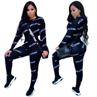 Fashion two piece set 2Pcs Women Tracksuit Letter Print Long Sleeve Sweatshirt Pants Jogger Sets Lounge Wear Casual Suit Outfits