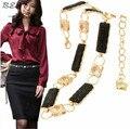 Женщина ремни для платья 2016 пояса женская мода металлической цепью живота цельный платье золотой цепи, пояса