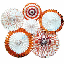1set (6ps) Rose Gold Decor Paper Fans Rose Gold Party Paper Rosettes Bridal Shower Wedding Birthday Decoration Tea Party Bunting