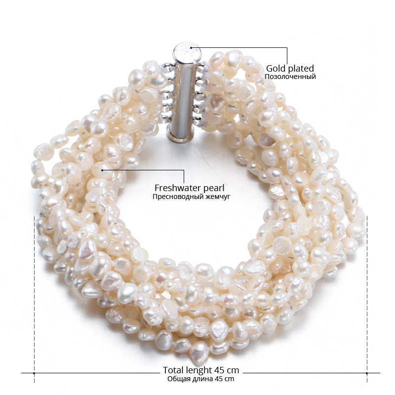 DMBFP096 Pearl Bracelet 10 Strand Freshwater Pearl Together Vintage Jewelry