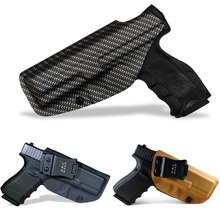 B.B.F Make IWB Carbon Fiber Woven KYDEX Gun Holster Fits: Glock 19 23 25 32 Cz p10c Inside Concealed Carry Pistol Case недорого