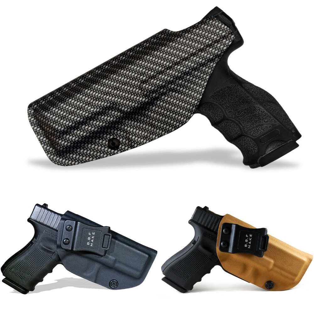BBF Make IWB Carbon Fiber Woven KYDEX Gun Holster Fits: Glock 19 23 25 32 Cz P10c Inside Concealed Carry Pistol Case