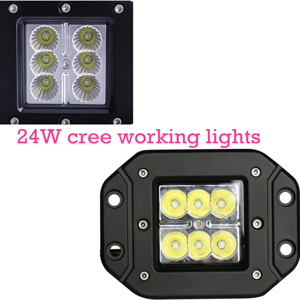 ФОТО 24W Spot Lamp for Motorcycle Tractor Truck Trailer Off road Driving Vehicle 2pcs LED Work Light hot sell