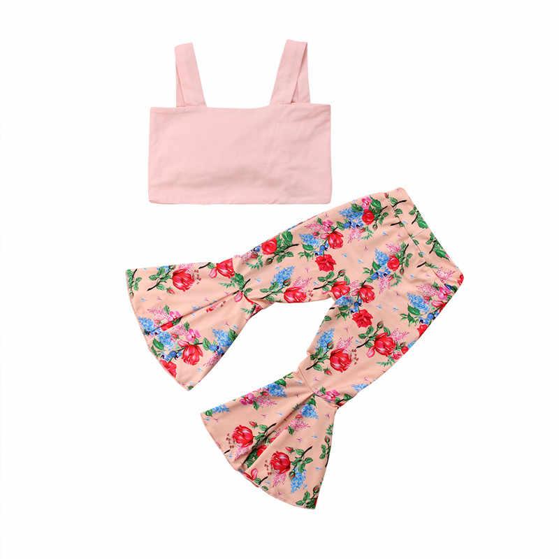 Kids Baby Meisjes kleren off schouderriem effen mouwloze Tops bloem Broek 2 st katoen casual Peuter pasgeboren Outfits