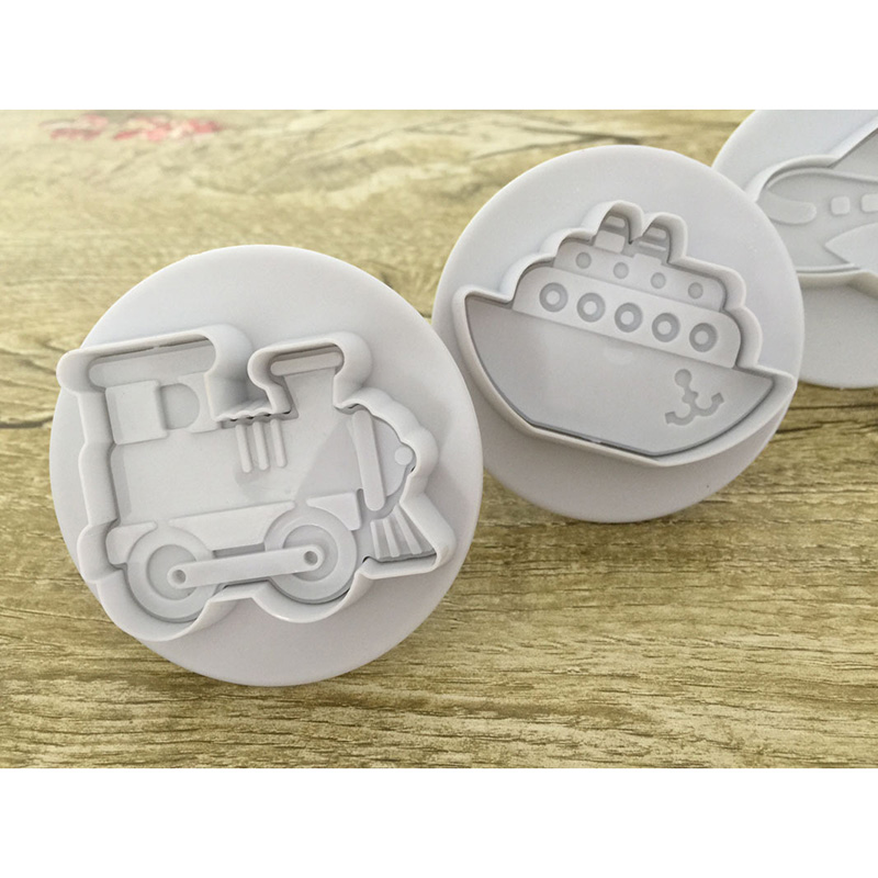 New Hot 4 Pcs Plastic Cookie Cutters Cake Fondant Molds Biscuit Moulds Plane Car Train Ship Shapes SMD66