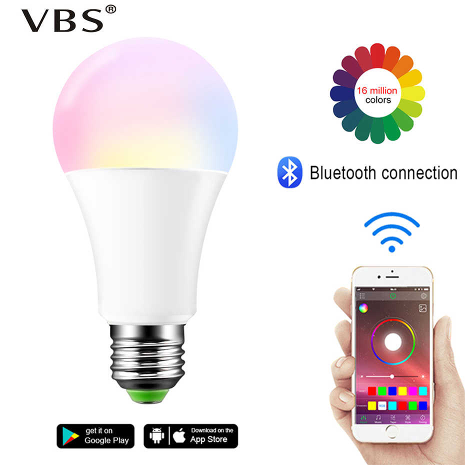 Smart Bulb E27 B22 LED Wireless Bluetooth4.0 Dimmable 15W RGB Bulb Google Home APP Control Multicolored Changing Night Light