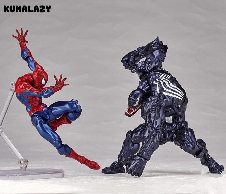 KUMALAZY Spider Man VS Venom Figure Spiderman Peter Parker Deadpool Venom Iron Man Wolverine PVC Action Figure Model Toy Gift
