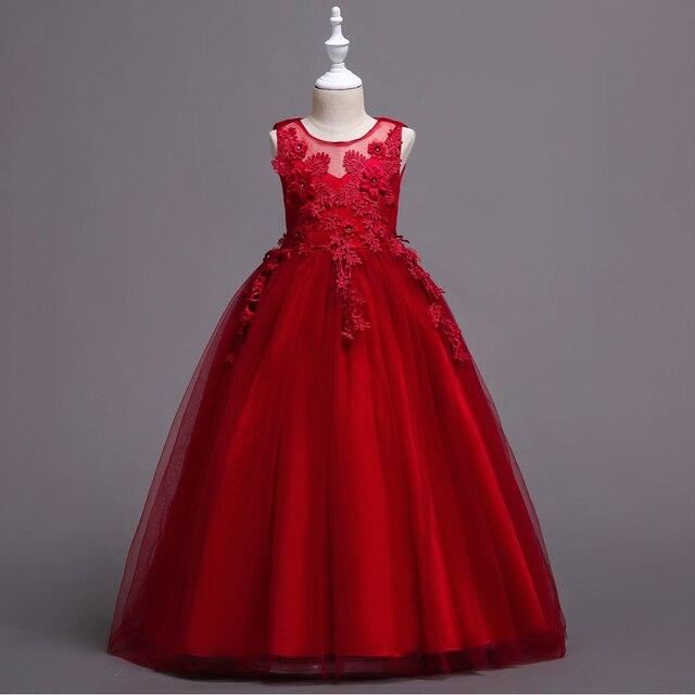 35dbe3886 De moda largo Puffy Apliques de encaje de los niños Elegante noche boda  chica flor chica