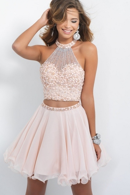 8254fb15b19 Light Pink Beaded Cheap Cute 8th Grade Short 2 Two Piece Homecoming Dresses