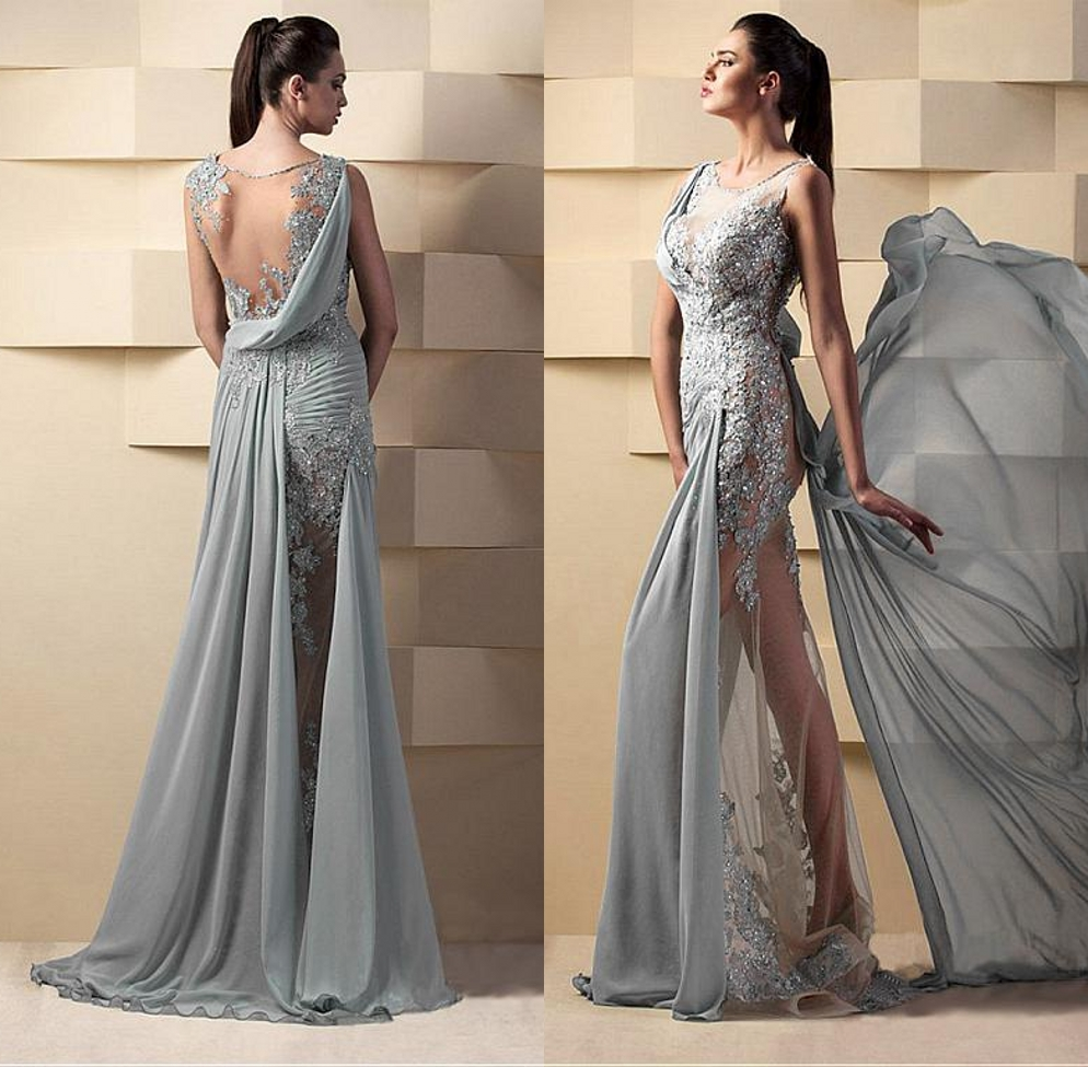 Silver Lace Mermaid Prom Dress