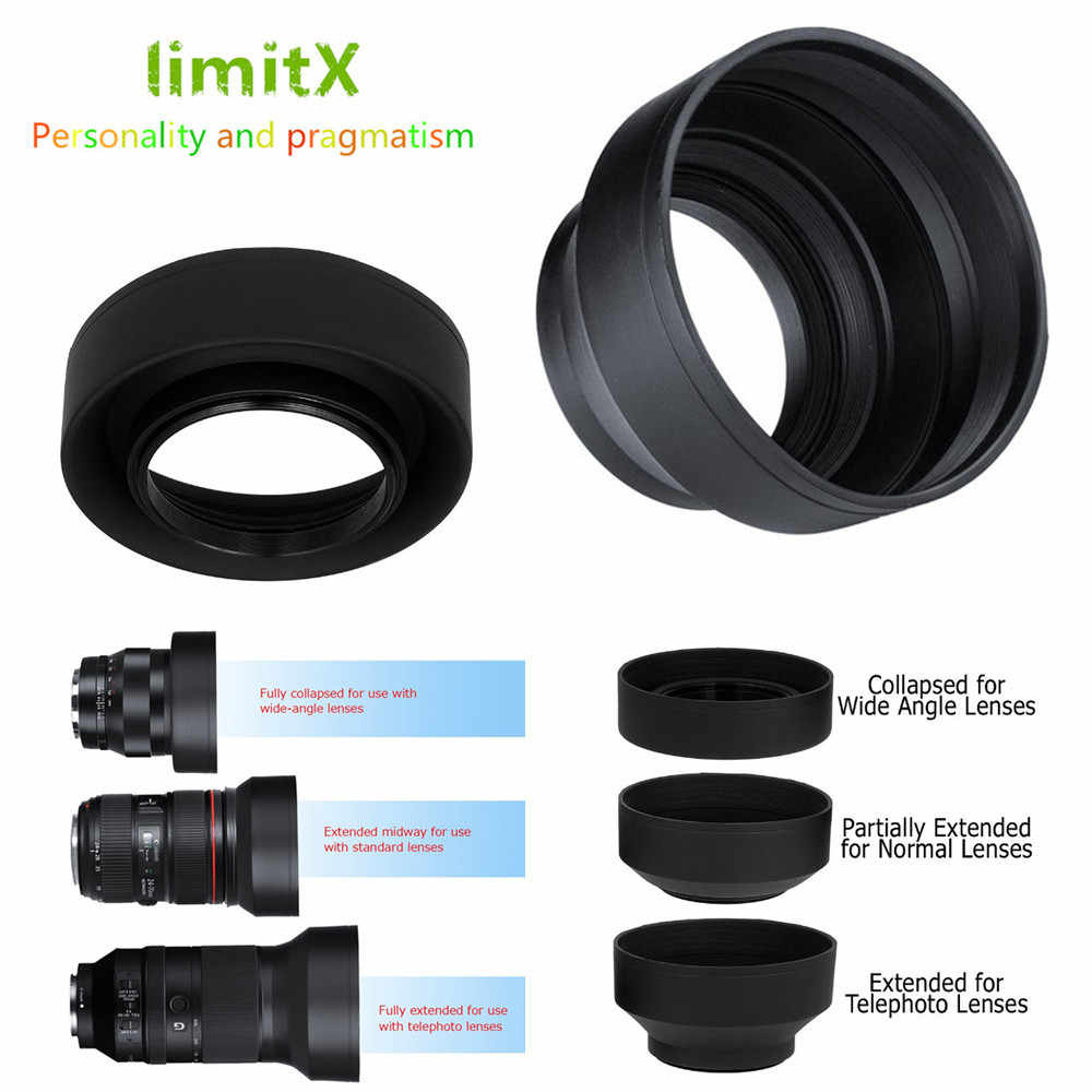 limitX 3 Stage Collapsible Rubber 3 in 1 Lens Hood for Panasonic LUMIX DC-FZ80 FZ80 DC-FZ82 FZ82 DC-FZ85 FZ85 Digital Camera