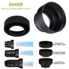 LimitX 3 Aşamalı Katlanabilir Kauçuk 3 in 1 Lens Hood Panasonic LUMIX DC FZ80 FZ80 DC FZ82 FZ82 DC FZ85 FZ85 dijital kamera