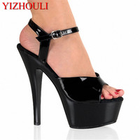 Fashion candy color 15 cm high with the bottom of the ribs of crystal sandals lure fish mouth shoes on sale