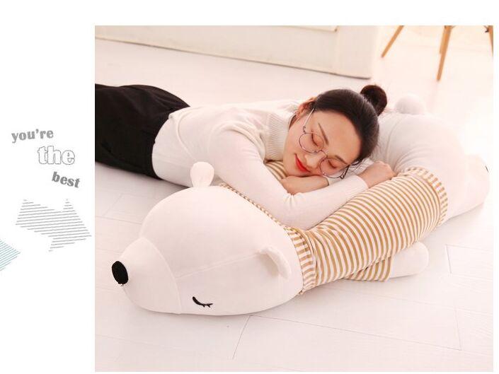 huge 110cm prone white polar bear plush toy soft sleeping pillow birthday gift b0480 умные часы polar m600 white