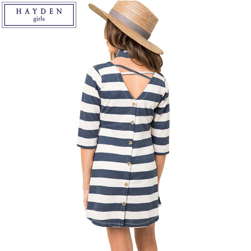 HAYDEN Girls Striped Dress Kids Half Sleeve Summer Dresses for Juniors 2017 Young Girl Fashion Brand Clothes Age 7 to 14 Years hayden girls boho ethnic dress designs teenage girls national embroidered dresses flare sleeve loose fit dress for 7 to 14 years