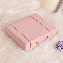 Travel jewelry packing box cosmetic makeup organizer Jewelry earrings display rings jewellry casket carrying case