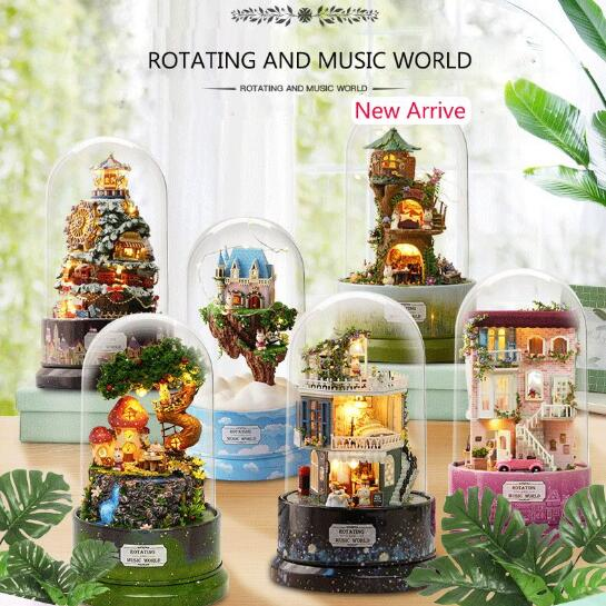 New Rotary Music World DIY doll house With Furnitures Mminiature Dollhouse Wooden Diy Puzzle Toy image