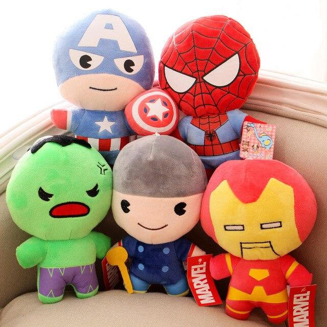 Estilos 5 Super-heróis Vingadores Brinquedos De Pelúcia Batman Capitão América Thor Homem De Ferro Homem Aranha Escudo Pingente de Pelúcia Brinquedos Bonecas