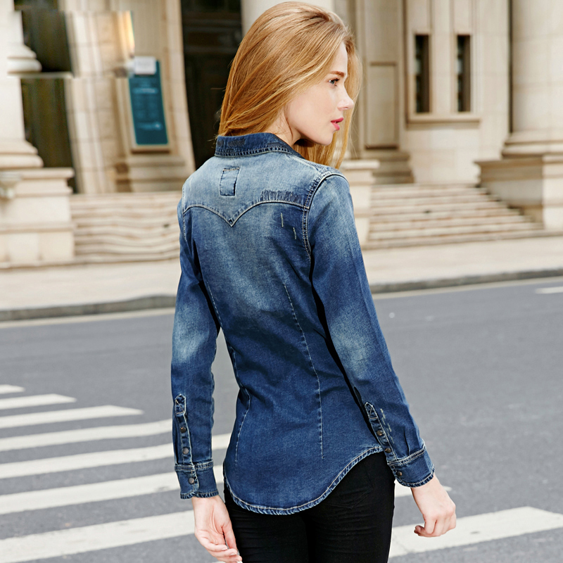 Women Blouses 2014 Blusas Femininas High Quality Denim Shirt Women Slim Fit  Casual Long Sleeve Turn Down Collar Jeans Women Tops-in Blouses   Shirts  from ... 30f6a233e