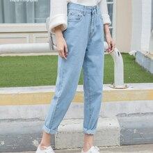 2017 Plus Size Women loose Waist Harem Jeans Hole Woman Boyfriend Ankle Length pants Women Ripped Jeans for Women