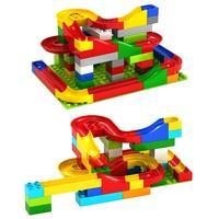 Kids DIY Blocks Assembly Marble Race Run Maze Balls Building Blocks Model Self Locking Blocks Toy