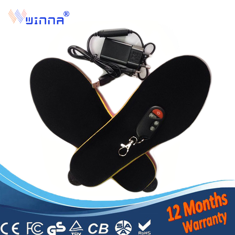 Electronic Heating Insoles Soles with Wireless Remote Control Winter Women men Skiing Shoes Boots Pad Black