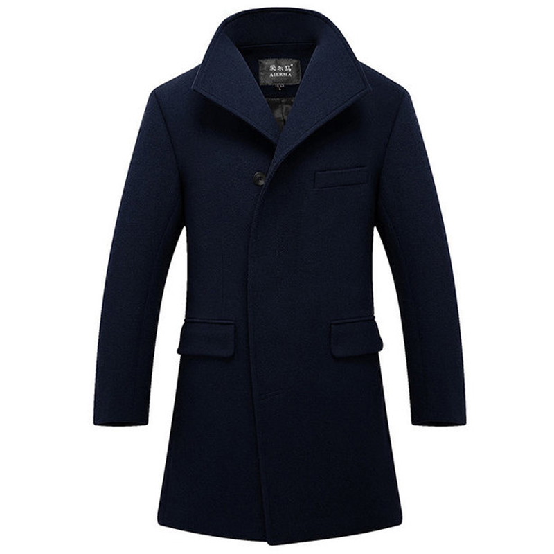 New High-quality Winter Wool Jacket Men's Wool Blend Casual Slim Men's Long Single Breasted Wool Trench Overcoat Wholesale(China)