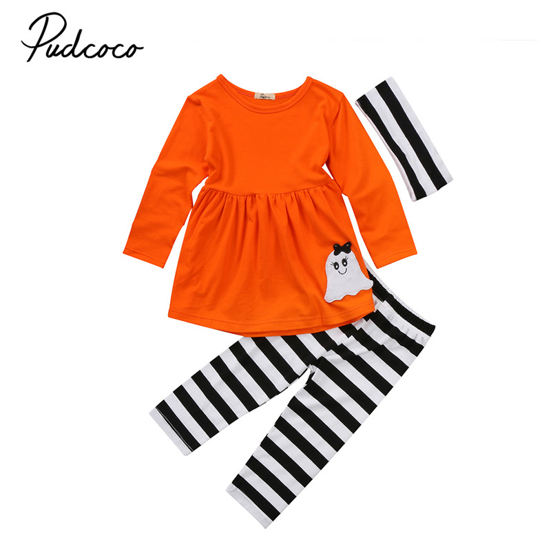 New Style Halloween Toddler Kids Baby Girls Clothes Long Sleeve Top+Pant+Headband Halloween 3pcs Outfits Baby Clothing Set