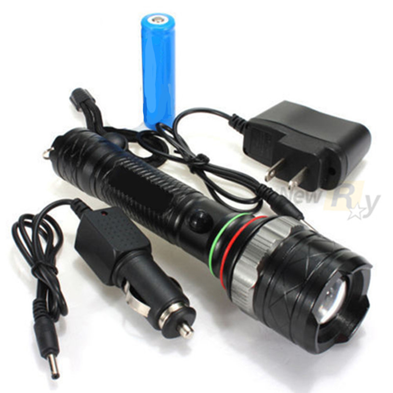 High Power 2200lm CREE XML T6 LED Zoomable Rechargeable Torch Flashlight +Battery+AC&Car charger-- - New Ray store