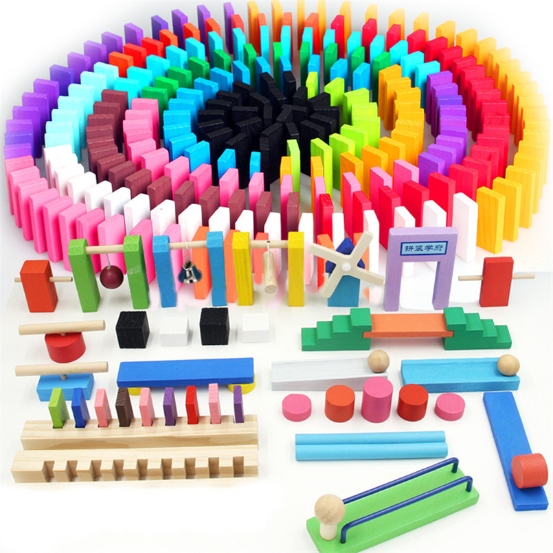 Kids Wooden Domino Institution Accessories Organ Blocks Rainbow Jigsaw Dominoes Montessori Educational Wood Toys For Children